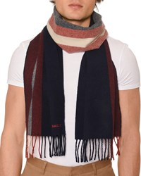Bally Striped Fringe Scarf Blue