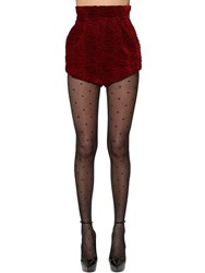 Saint Laurent High Waist Viscose And Cupro Velvet Shorts Dark Red