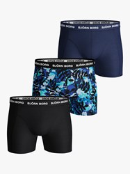 Bjorn Borg Floral Plain Trunks Pack Of 3 Blue Depths