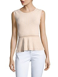 Bcbgmaxazria Sleeveless Peplum Top Almond Blossom