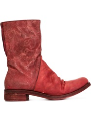 A Diciannoveventitre Zip Fastening Distressed Boots Red