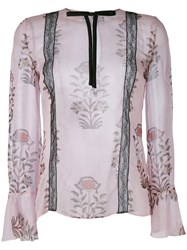 Giambattista Valli Floral Print Semi Sheer Blouse Women Silk Polyamide Viscose 40 Pink Purple