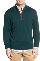 Men's Vineyard Vines 'Round Hill' Quarter Zip Sweater With Suede Elbow Patches Charleston Green