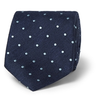 Alfred Dunhill Polka Dot Mulberry Silk Tie Blue