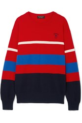 Burberry Embroidered Striped Wool Sweater Xx Small