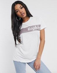Replay Logo Shirt With Pink Glitter White