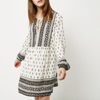 River Island Womens Petite Black And White Paisley Print Dress