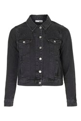 Topshop Moto Denim Western Jacket Washed Black