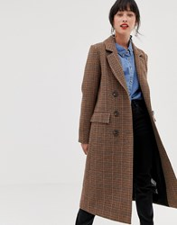 Warehouse Tailored Longline Coat In Check Brown