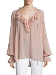 Roberto Cavalli Long Sleeve Ruffle Blouse Blush