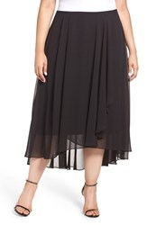 Alex Evenings Plus Size Women's Chiffon High Low Midi Skirt Black