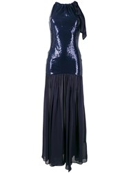 Just Cavalli Sequinned Shoulder Bow Gown Blue