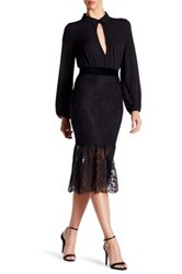 Abs By Allen Schwartz Mermaid Hem Lace Skirt Black