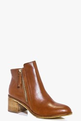 Boohoo Boutique Leather Zip Side Flat Boot Tan