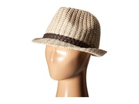 Scala Cable Knit Fedora With Faux Leather Trim Ivory Fedora Hats White