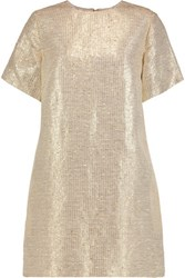Msgm Woven Lame Linen And Cotton Blend Mini Dress Gold