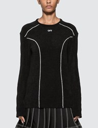 Off White Stitched Detail Long Sleeve T Shirt Black
