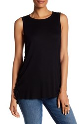 Matty M Sleeve Side Lace Up Tunic Black