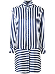 Burberry Striped Shirt Dress Women Silk Cotton 8 Blue