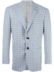 Brioni Checked Blazer Blue