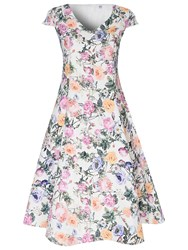 True Decadence Floral Prom Dress Cream Violet