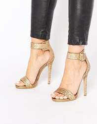 Truffle Collection Rita Gold Ankle Strap Heeled Sandals Champagneheavyglit