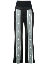 No Ka' Oi Button Detail Striped Trousers Black