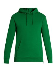 Balmain Side Zip Hooded Cotton Jersey Sweatshirt Green