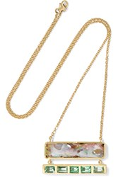 Brooke Gregson Ziggurat 18 Karat Gold Opal And Emerald Necklace