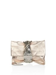 Jimmy Choo Chandra Metallic Ballet Clutch Ballet Pink