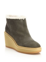 See By Chlo Taama Suede And Shearling Wedge Booties Grey