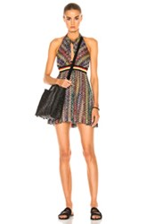 Missoni Mare Mini Halter Beach Dress In Black Abstract Red Geometric Print Black Abstract Red Geometric Print