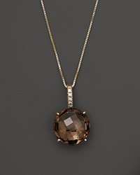 Bloomingdale's 14K Yellow Gold Smoky Topaz Round Necklace 18
