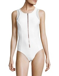 Luxe By Lisa Vogel Zip Front One Piece Swimsuit White