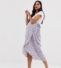 New Look Maternity Ditsy Midi Skirt In Purple Floral