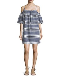 Saks Fifth Avenue Striped Cold Shoulder Cotton Dress Indigo