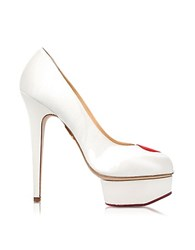 Charlotte Olympia Delphine White And Red Satin Platform Pump