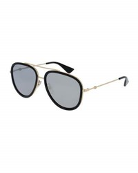 Gucci Mirrored Monochromatic Acetate Trim Aviator Sunglasses Gold Black