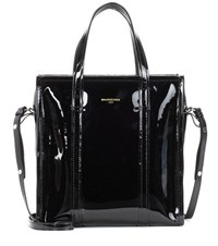 Balenciaga Bazar S Patent Leather Shopper Black