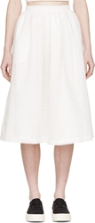 Edit White Cut Out Pleated Skirt