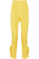 Carmen March Cropped Ruffled Silk Moire Slim Leg Pants Yellow