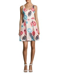 Guess Floral Fit And Flare Dress White Multi