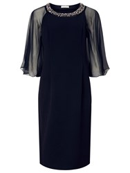 Jacques Vert Chiffon Cape Dress Navy