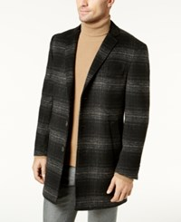 Tallia Men's Black And Gray Plaid Topcoat Dark Gray