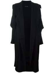 Y's Ribbed Detailing Mid Cardi Coat Black
