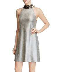 Design History Embellished Mock Neck Metallic Dress Silver