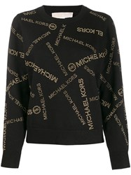 Michael Kors All Over Logo Print Sweater Black