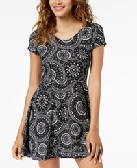 Planet Gold Juniors' Printed Double Scoop Skater Dress Black And White