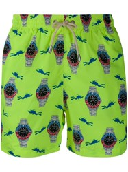 Mc2 Saint Barth Printed Lightning Swimming Shorts Yellow