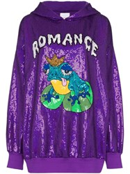 Ashish Romance Sequin Embellished Hoodie Purple